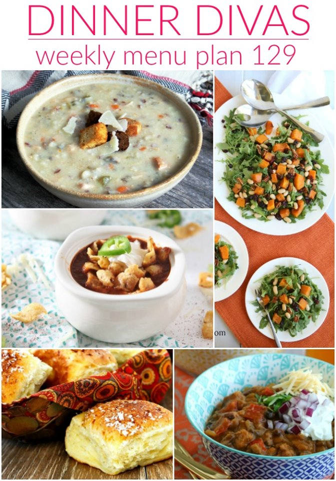 dinner divas weekly meal plan collage image: 5 images of recipes from our menu plan