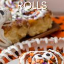pin image for halloween cinnamon rolls text reads pumpkin spice halloween cinnamon rolls