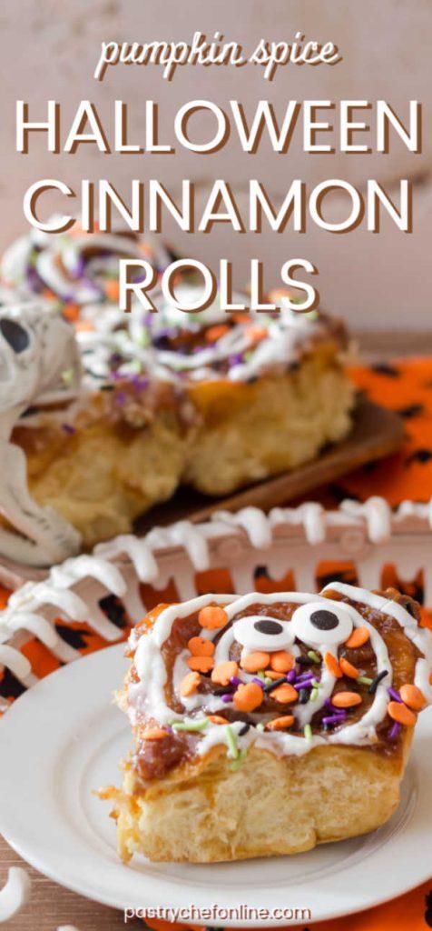 pin image for halloween cinnamon rolls text reads pumpkin spice halloween cinnamon rolls