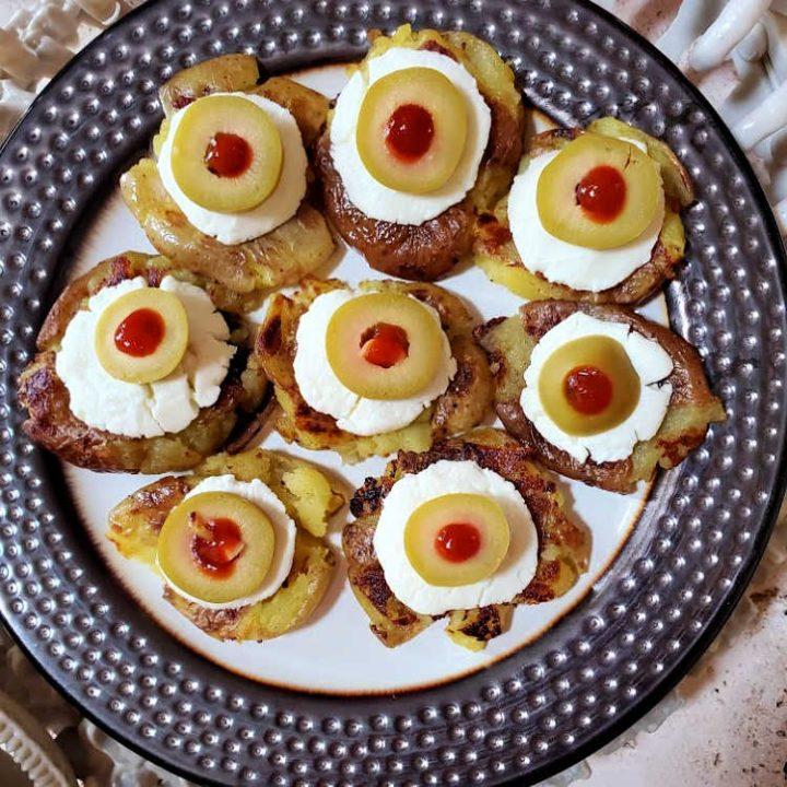 Smashed Creamer Potatoes (Halloween Potato Eyes)