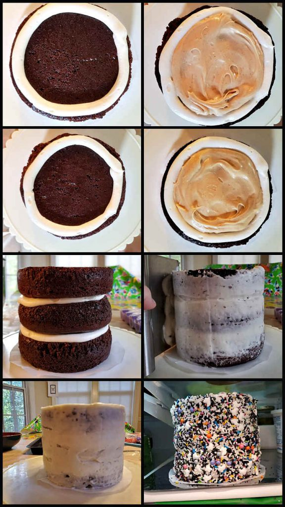 collage of 8 images showing how to stack and ice a 3 layer easy day of the dead cake
