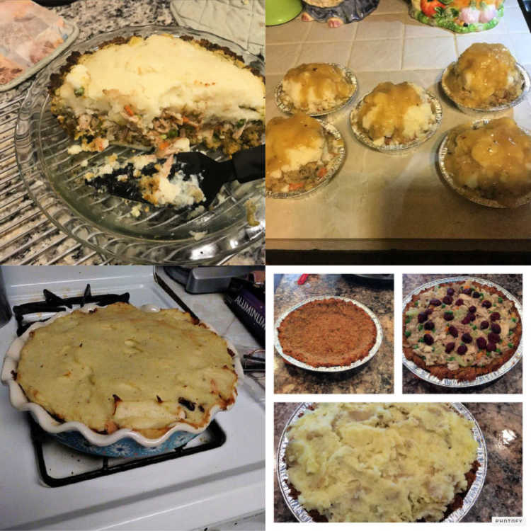 collage of 4 thanksgiving shepherds pies made by readers