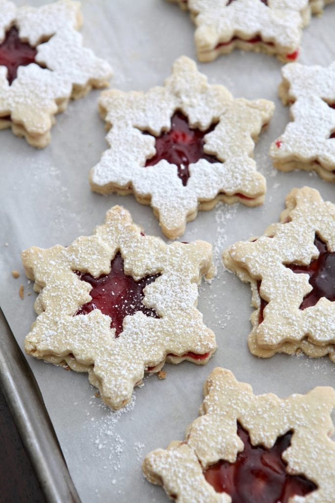 Raspberry Linzer Snowflake Cookies