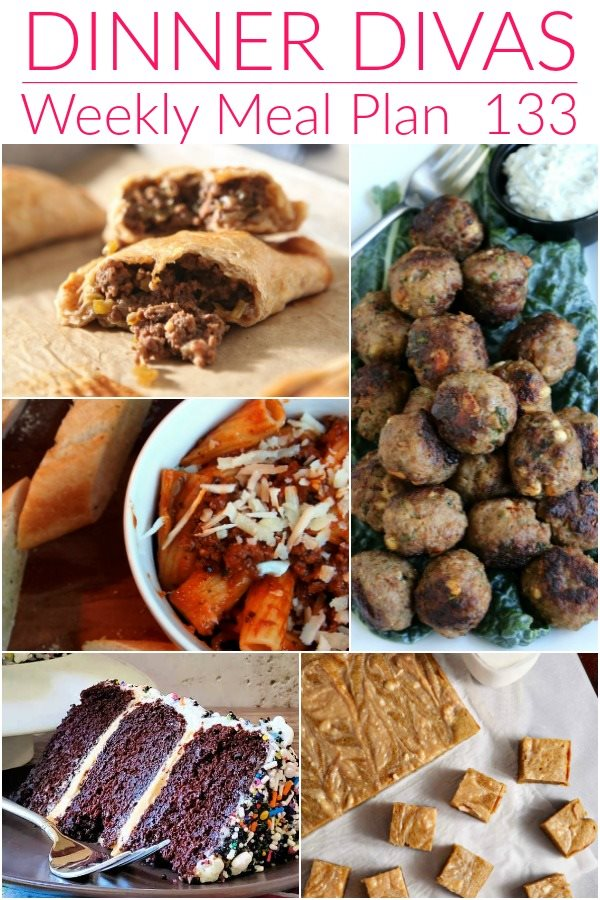 """collage of 5 images of recipes from our weekly meal plan. Text reads """"Dinner Divas Weekly Menu Plan 133"""""""