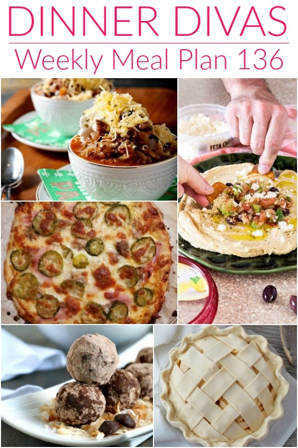 """collage of 5 images of recipes from our weekly meal plan post. Text reads """"dinner divas weekly meal plan 136"""""""