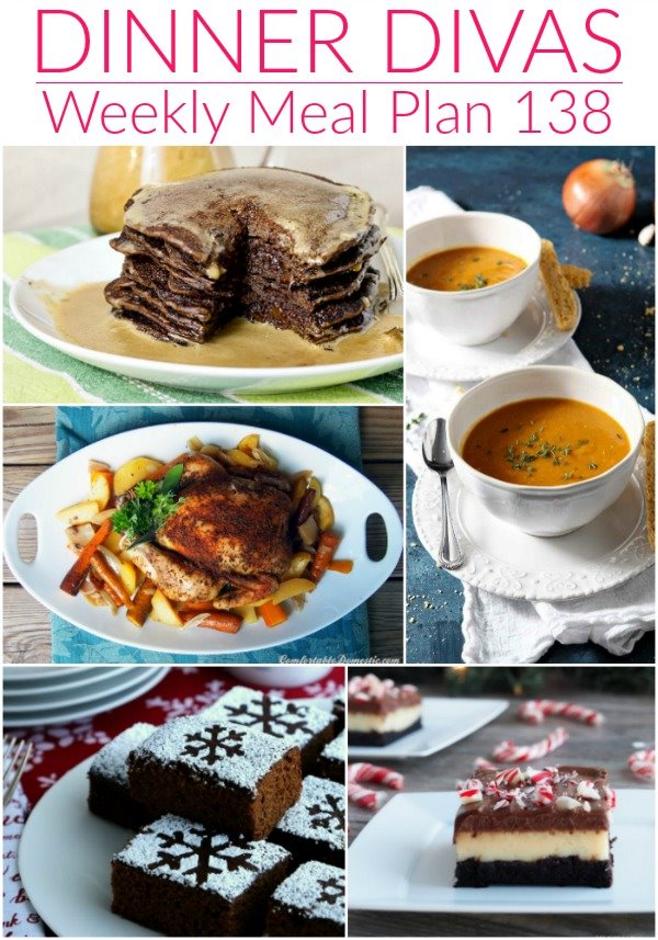 """collage of 5 images of recipes from our menu plan. Text reads """"dinner divas weekly meal plan 138"""""""