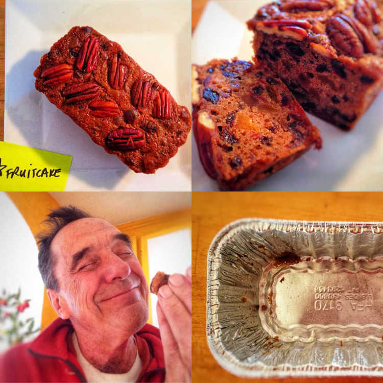 collage of 4 images showing a whole fruitcake with pecans on top, a sliced fruitcake, a man smiling and eating a piece of fruitcake, and an empty fruitcake pan