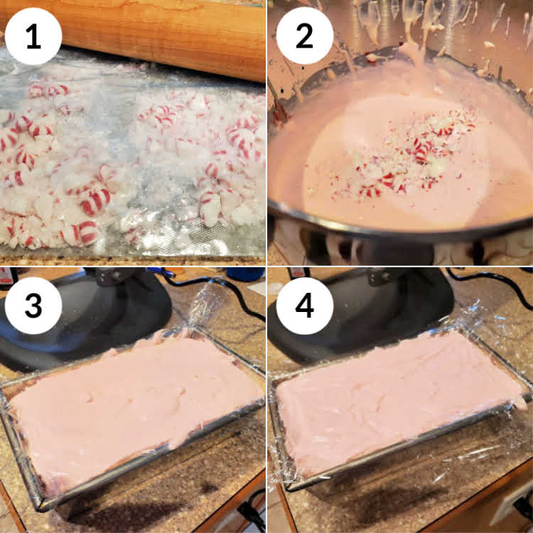 collage of 4 images showing how to make mint ice cream, step by step.