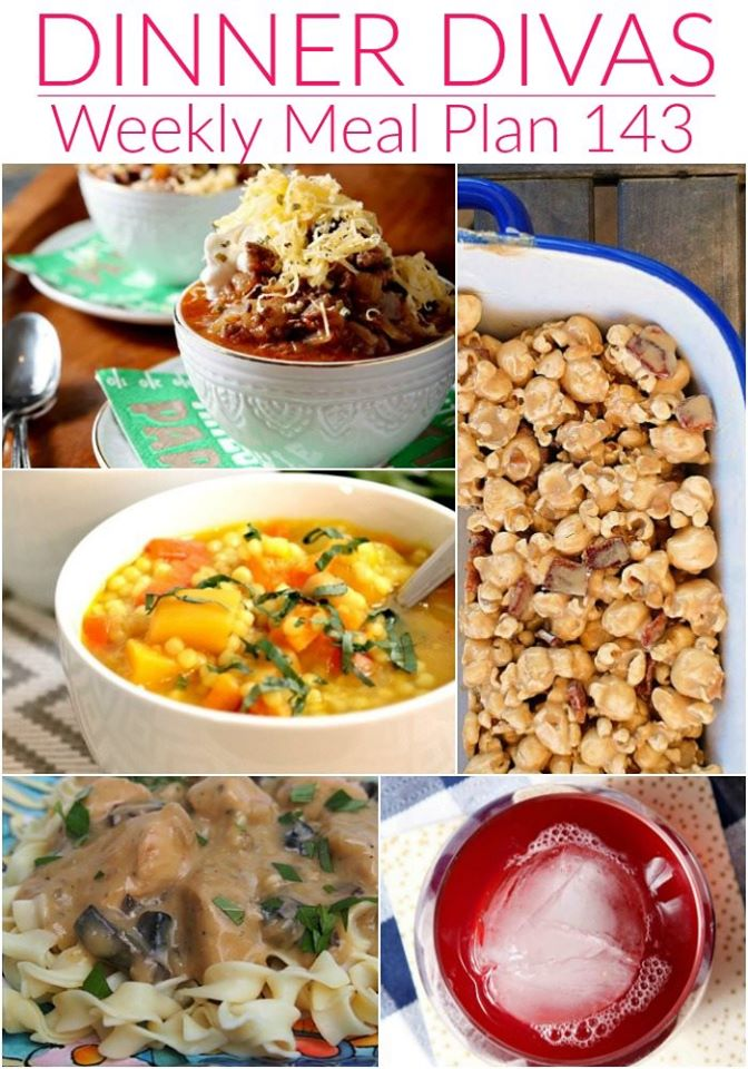 """collage image of 5 of the recipes from our weekly meal plan. Text reads """"dinner divas weekly meal plan 143"""""""