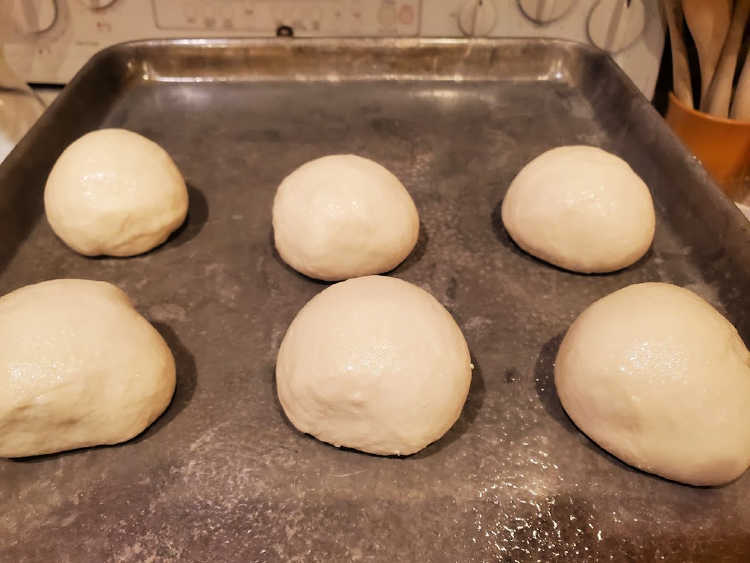 6 rounds of bagel dough on a tray