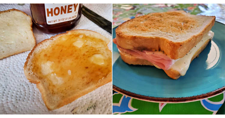 bread with softened butter and honey and a ham sandwich on toasted sandwich bread