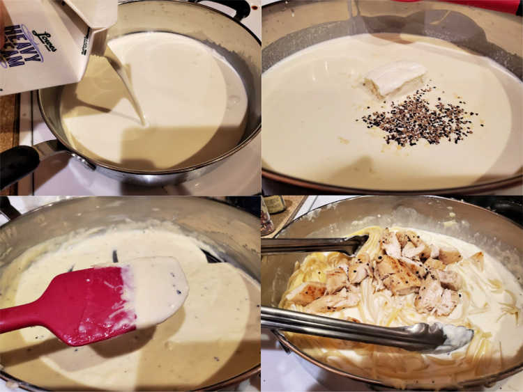 collage of four images showing pouring cream into a pan, adding cream cheese, salt, and pepper, the thickened sauce in the pan, and stirring in the cooked fettuccine and chicken