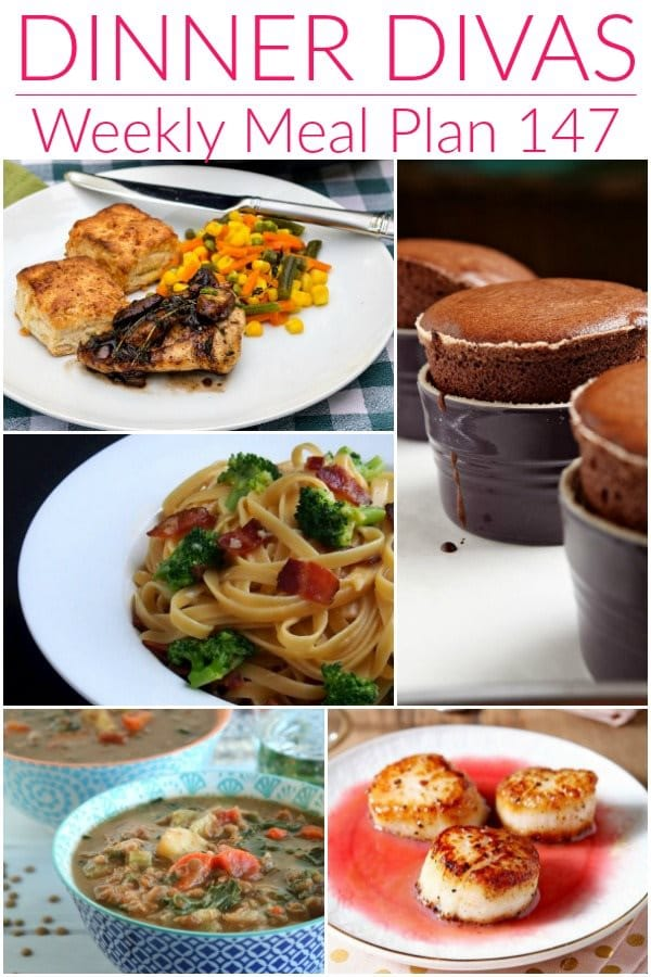 "collage of 5 images from our weekly meal plan post. Text reads ""dinner divas weekly meal plan 147"""