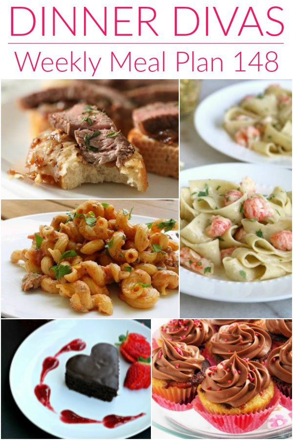 "collage of 5 images of recipes from our weekly meal plan. Text reads ""Dinner Divas Weekly Meal Plan, 148"""