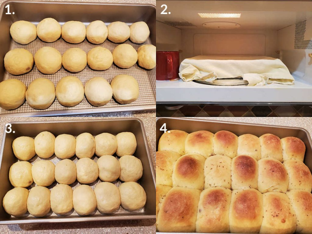 collage of 4 images showing cheese buns rising in a pan and then baked