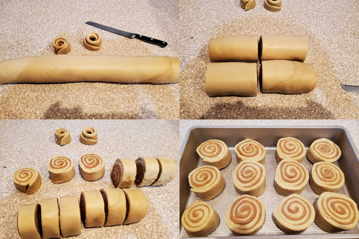 collage of 4 images showing cutting the sweet rolls in 12 even slices