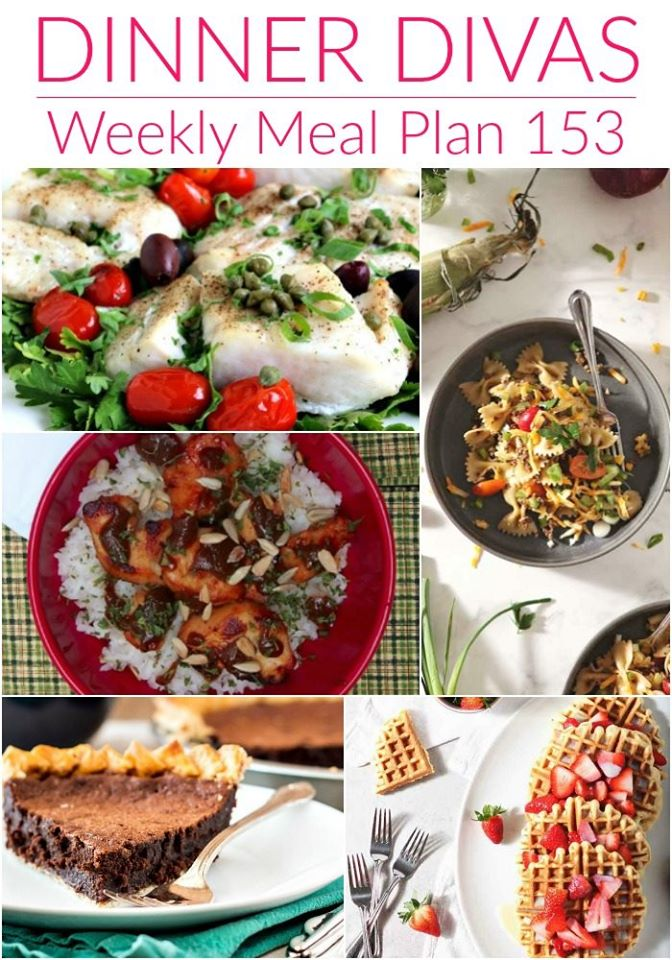 collage of 5 images from our weekly meal plan. Text reads Dinner Divas Weekly Meal Plan 153