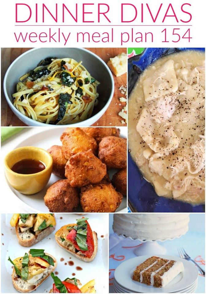 collage of 5 images of recipes from the week's meal plan post