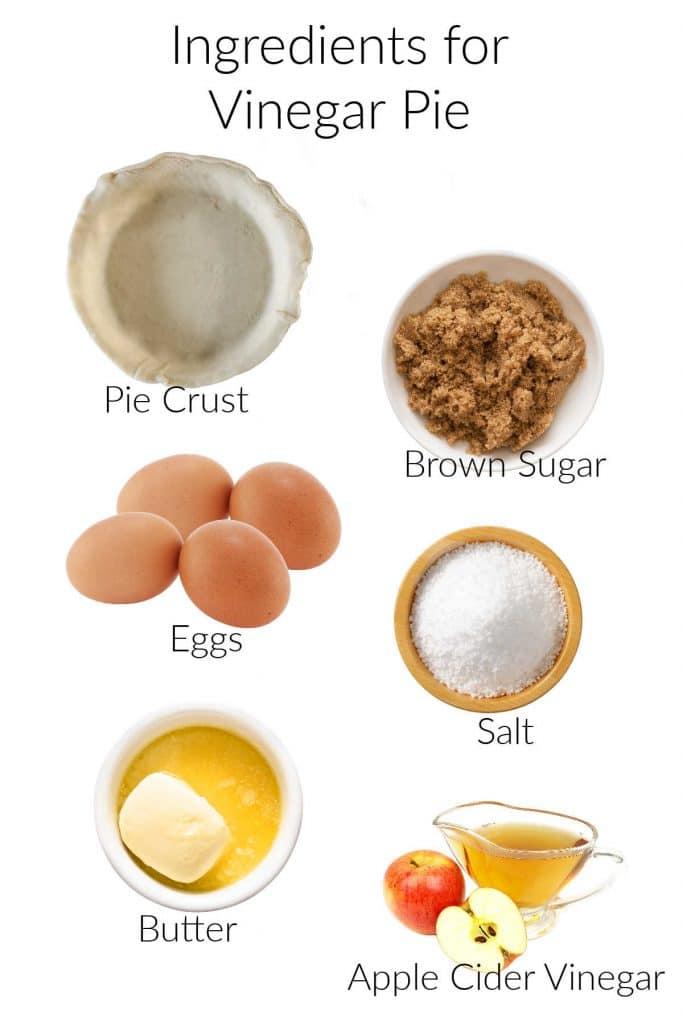 collage of ingredients for making vinegar pie