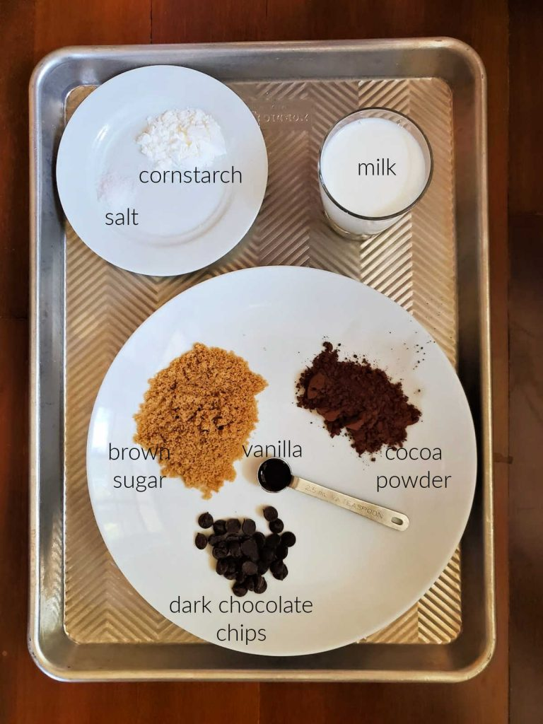 overhead shot of ingredients for making chocolate pudding