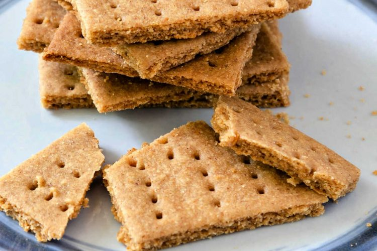 stack of Graham crackers on a plate
