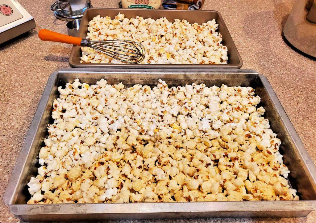 popcorn spread in two baking pans