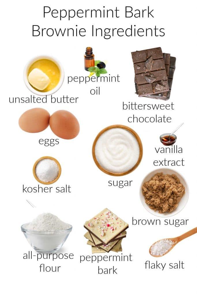 ingredients for making peppermint bark brownies