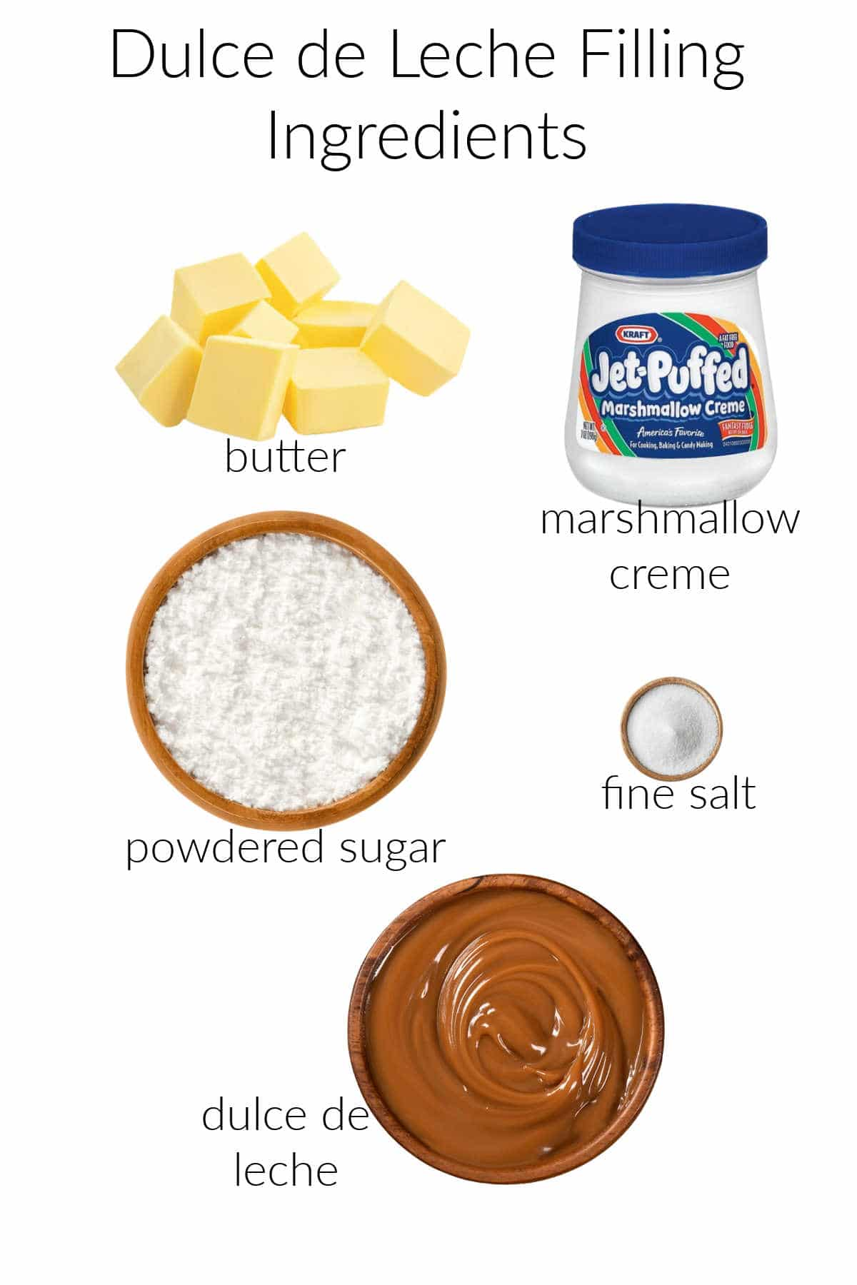 Collage of ingredients for making dulce de leche filling for sandwich cookies.